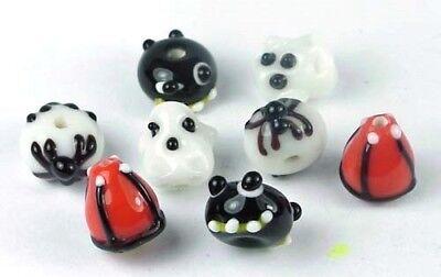 Glass Halloween Beads (8 Lampwork Handmade Glass Halloween Beads - Trick or Treat II Spider)