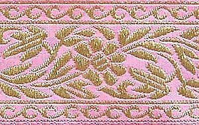 Pink & Metallic Gold, Floral, Jacquard, Ribbon Trim Pink Floral Gold Trim