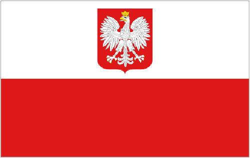 Poland Flag with State Eagle 3ft x 2ft Small Polish National Flag - 2 Eyelets