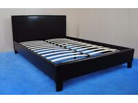 BARGAIN!! Modern Double bed frame in black faux leather, brand new in box, Free delivery
