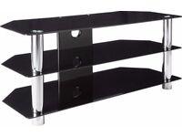 Black Glass/Chrome Rectangular TV Stand - NEW