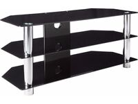Black Glass/Chrome Rectangular TV Stand – NEW