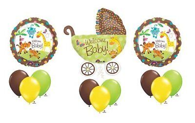 1 X Fisher Price Welcome Baby Shower Stroller Jungle Balloons - Fisher Price Jungle Baby Shower