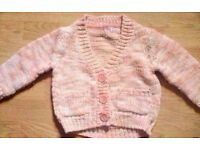 Coral and Cream Marl Boy's Buttoned V-Neck Cardigan.Age 18-24 Months.