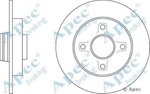 1x OE Quality Replacement Rear Axle Apec Solid Brake Disc 4 Stud 249mm - Single