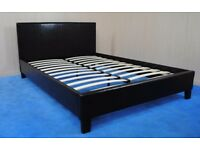 Modern 4ft6 Black faux leather double bed frame, brand new in box FREE DELIVERY