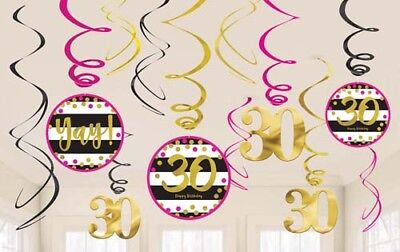 HOT PINK AND GOLD 30th BIRTHDAY HANGING SWIRL DECORATIONS (12) ~ Party - Hot Pink Party Decorations
