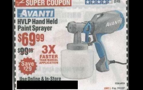 Avanti HVLP Hand-Held Paint Sprayer Paper Coupon Harbor Freight Tools Save 30 - $2.99
