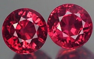 A PAIR OF 4mm ROUND-FACET HYDROTHERMAL HOT-RED RUBY GEMSTONES