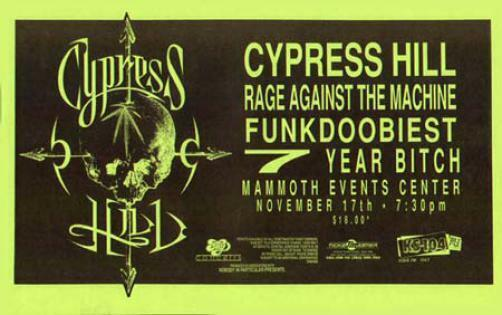 CYPRESS HILL RAGE AGAINST THE MACHINE CONCERT POSTER 93