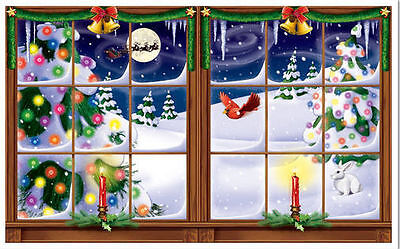SNOWY WINDOW Scene Setter Christmas holiday winter party wall decor kit  snow
