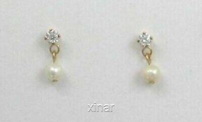 14K Gold Filled CZ Pearl Post Dangle Earrings 14k Gold Filled Dangle Earrings