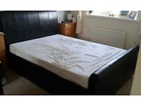 Faux Leather Double Sleigh Bed