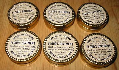 Lot of 6 Old Vintage 1930's - FLOOD'S - Ointment Medicine TINS - Oklahoma