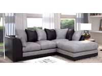 New Stock *** Jumbo cord Fabric*** Brand New Byron Cord + Leather Corner Sofa Or 3 +2 Seater Sofa