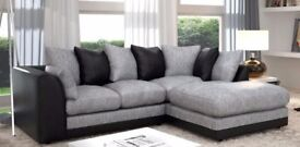 NEW BYRON CORNER SOFA GREY / BLACK JUMBO CORD PORTO LEATHER FOAM SEATS - SALE