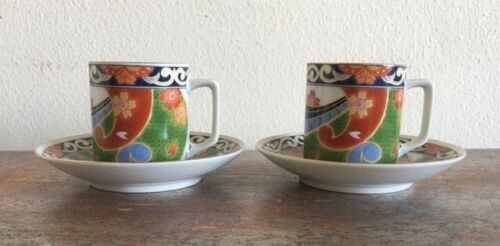Japanese Arita Demitasse Cups and Saucers Set of 2 for Tea Coffee or Chocolate