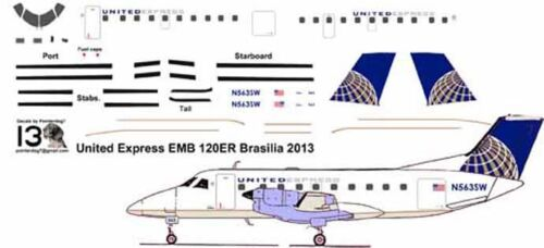 United Express EMB 120 final livery Pointerdog7 decals for Welsh 1/144 kit