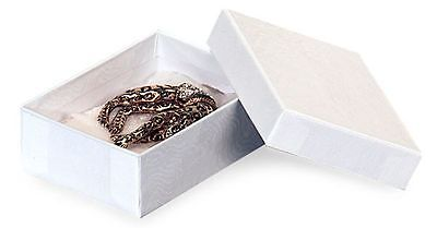 1 White Jewelry Boxes (Jewelry Boxes 100 #32 White Cotton Filled Swirl Earrings Pin Gift 3  x 2