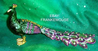NEW ENAMELED BEJEWELED METAL BEAUTIFUL PEACOCK TRINKET HINGED COLLECTIBLE BOX