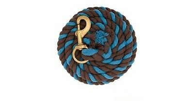 10' Weaver Blue Brown Heavy Duty Cotton Lead Line Rope Brass Snap Horse Pony