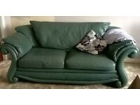 Large Sofa and Chair- in quality Italian Leather. £40 the pair!