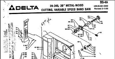 Delta 20 Metal-woodcutting Bandsaw 28-345 Parts List Pdf