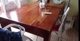 Solid wood table and chair