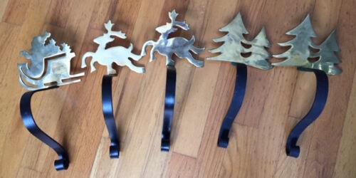 Vintage Solid Brass /Iron Christmas MANTLE HOOKS Stocking Holder Hanger SET OF 5