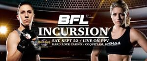 4 tickets for Battlefield Fight League, SEP 22. (650-260-7406)