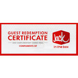 6 Jack in the Box Combo Meal Vouchers
