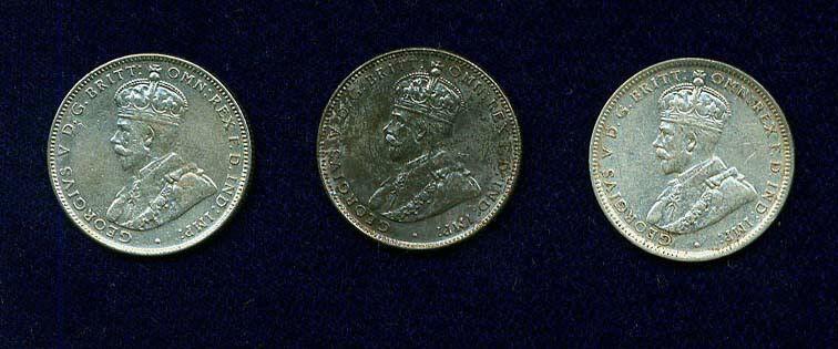 AUSTRALIA GEORGE V  1917-M, 1935, & 1936  1 SHILLING SILVER COINS, LOT OF (3)