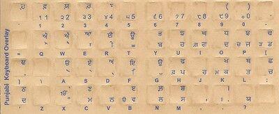 Punjabi Keyboard Stickers W/ Blue Letters Reverse Print