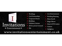 Invitations Entertainment LDT, DJ, Photo Booth, Magic Mirror, Giant LOVE letters and lots more