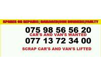 Cars and vand wanted for cash