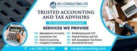 Company Accounts, Payroll, Pension, VAT, Bookkeeping, CIS Rebates,Self assessment tax returns, CT600