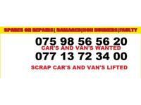 Scrap Cars and vans cash paid