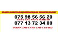 Van and cars wanted