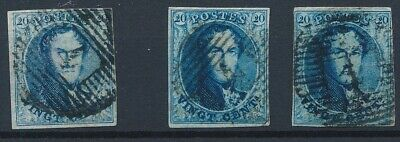[9900] Belgium good classic stamps very fine used (3x). Nice margins