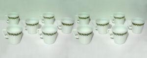 12 Vintage Pyrex Mugs - Green Spring Blossom/Crazy Daisy