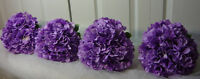 4 Purple Bridesmaids Hydrangea Wedding Bouquet Flowers.