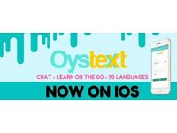 Language exchange using Oystext messaging app to chat, learn and meet people