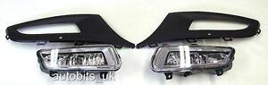 NEW FRONT BUMPER FOG LIGHT GRILL LAMPS L&R FOR VW POLO mk8 6R 2009 2010 2011