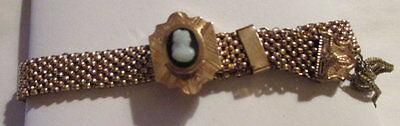 (Beautiful Antique Victorian Gold Slide Bracelet w/ Cameo & Tassels)