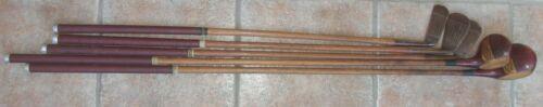 5 Matching Antique Vintage Left Hand Hickory Wood Shaft Golf Clubs Alex Taylor