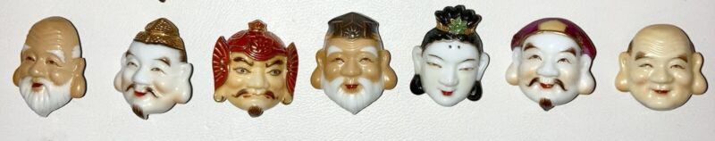 Mint 40s Arita Toshikane FORTUNE GODS Japanese ART Porcelain 7 Button set!