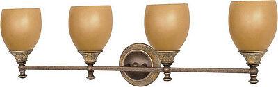 Dorado Bronze 4 Light Energy Star Bath Wall Fixture With Sepia - Energy Star Bathroom Light Fixture