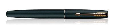 Parker Frontier Matte Black GT (Gold Plated Trim & Nib) Ink Fountain Pen - New