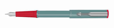 Parker Beta Standard Fountain Pen Chrome Trim Grey Blue ink Fine Nib - Best