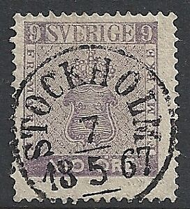 Sweden-stamps-1858-Facit-8c-CANC-VF
